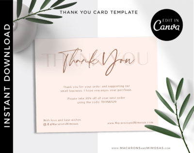 Editable Business Thank You Insert card Template. Modern Insert Card for Packaging, Instant Download Thank You For Your Order just Add Logo