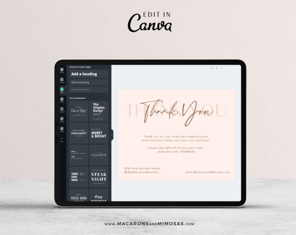 Editable Business Thank You Insert card Template, Modern Insert Card for Packaging, Instant Download Thank You For Your Order just Add Logo