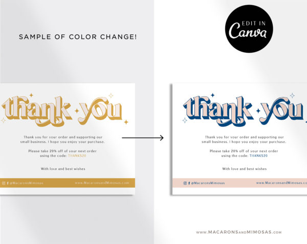 Business Thank You Insert Card Template, Editable Boho Vintage Retro Packaging Insert Card, Discount Thank You For Your Order just Add LOGO