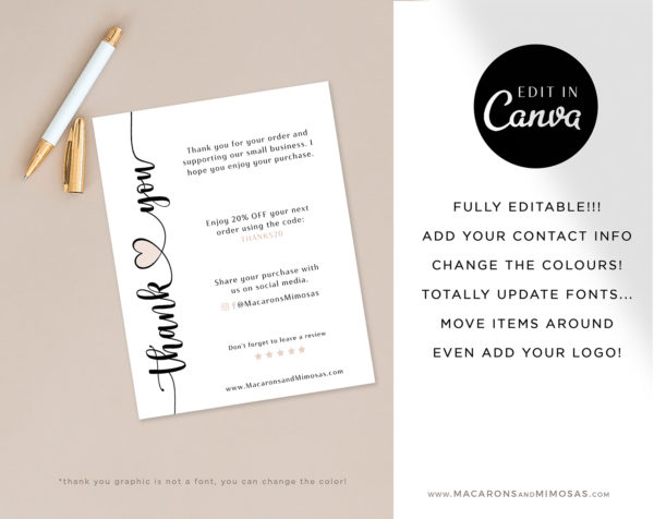 Business Thank You Insert card Template, Editable Canva Modern Insert Card for Packaging, Heart Discount Thank You For Your Order just Add Logo