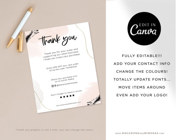 Watercolor Business Thank You Insert Card Template, Editable Packaging Insert Card, Discount Thank You For Your Order just Add Logo
