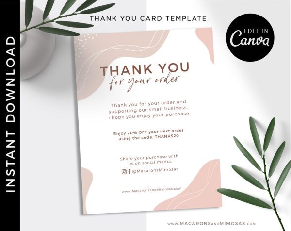 Thank you for your order cards, Business Thank You Insert Note Card Template, Editable Boho Vintage Retro Discount Packaging Insert Card