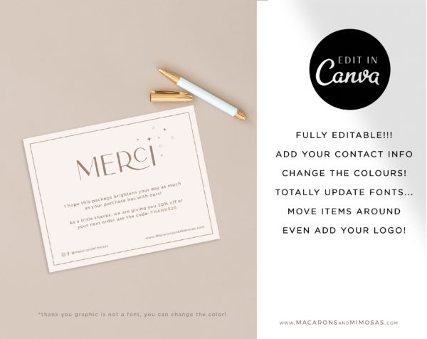 Business Thank You Insert card Template, Editable Modern Insert Card for Packaging, Instant Download Thank You For Your Order just Add Logo
