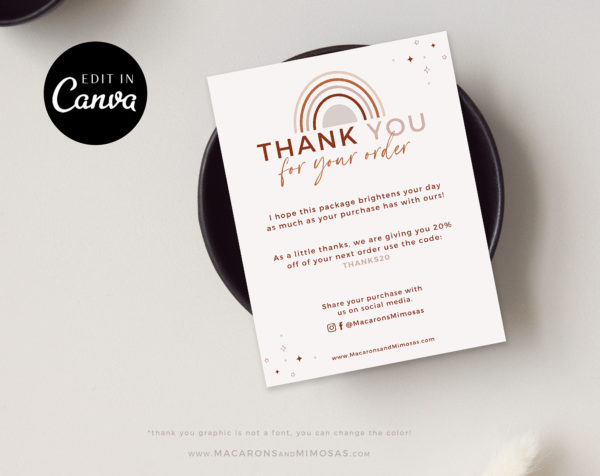 Editable Business Thank You Insert card Template, Modern Rainbow Insert Card for Packaging, Instant Download Thank You For Your Order