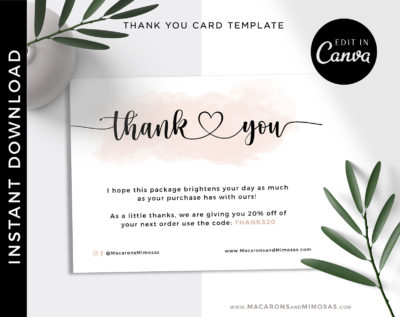 Business Watercolor Thank You Insert card Template, Editable Modern Insert Card for Packaging, Discount Thank You For Your Order add logo