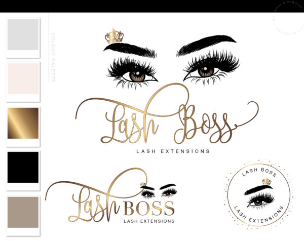 Tiara Lash Technician Logo Design, Eyelash Logo Design, Crown Eyelash Logo, Lash Logo Branding Kit, Salon Logo, Beauty Logo Template Set