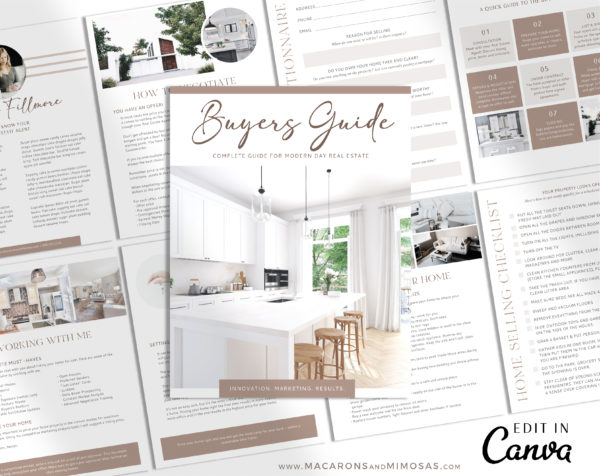 Home Buyers Guide Template, Real Estate Presentation Marketing Listing for Canva, 9 Page Buyer Home Packet with Questionnaire, House Buying Guide