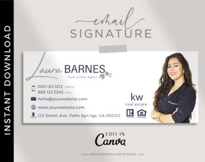 Real Estate Email Signature Template Logo, Minimalist, Best Seller Realtor Marketing Tool, Professional Signature, Contact Card Design