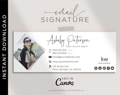 Email Signature Template Logo, Best Seller Photographer Marketing Tool, Professional Real Estate Picture Signature, Realtor Gmail Design