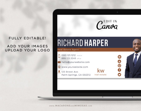 Professional Real Estate Signature, Email signature template with Minimalist Logo, Best Seller Realtor Marketing Tool, Contact Card Design