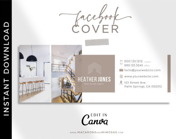 Real Estate Facebook Banner Template, Realtor Facebook Cover Design, Home Sale Interior Designer Facebook Banner Cover Photos