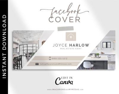 Realtor Facebook Cover Template, Canva Facebook Template for Photographer & Real Estate Agent, Photo Website Banner Interior Designer