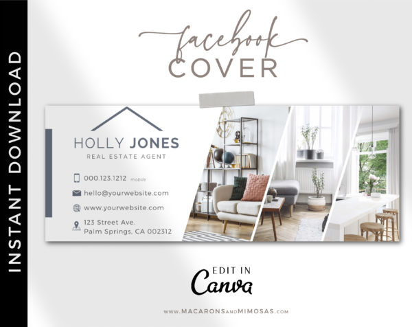 Interior Designer Facebook Cover Template, Realtor Facebook Banner Design, Home Sale Real Estate Facebook Banner Cover Photos