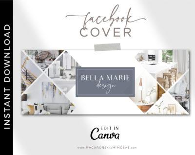 Canva Facebook Cover Template for Interior Designers, Realtor Facebook Banner Design, Home Sale Real Estate Facebook Banner Photos