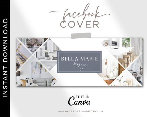Canva Facebook Cover Template for Interior Designers, Realtor Facebook Banner Design, Home Sale Real Estate Facebook Banner Photos