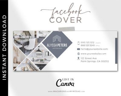 Real Estate Facebook Cover Template, Realtor Facebook Banner Design, Home Sale Interior Designer Facebook Banner Cover Photos