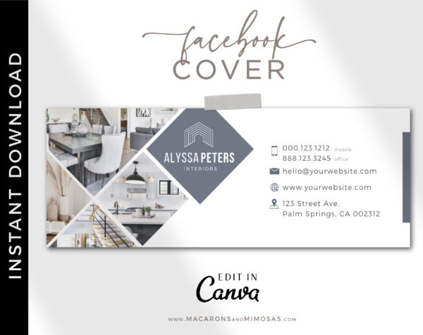Real Estate Facebook Cover Template, Realtor Facebook Banner Design, Home Sale Interior Designer Facebook Banner Cover Photos