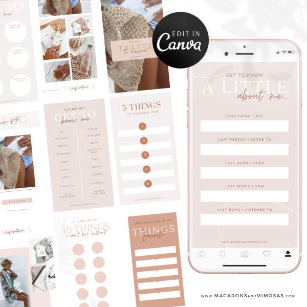 Instagram Engagement Templates, Instagram Story Templates Canva, Editable Engagement IG Story Posts, 15 Social Media Bundle Templates, Instagram Story Facebook Feed Bundle