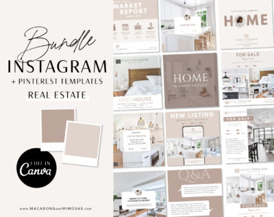 Real Estate Instagram Post Template editable in Canva Elevate your Instagram, showcase your clients listings for your Real Estate business!