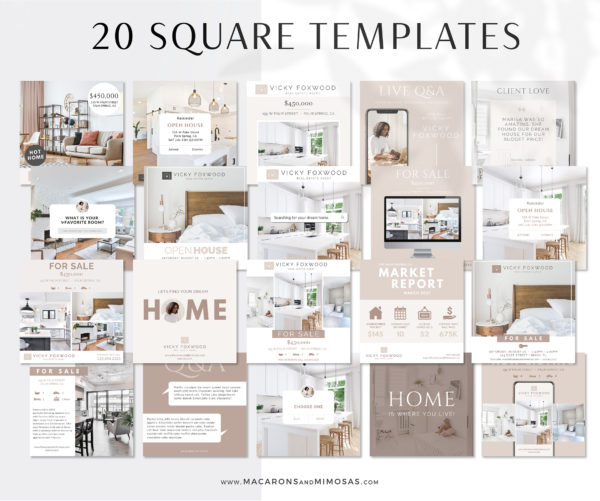 Real Estate Instagram Templates, Real Estate Marketing for Canva, 8 Social Media Templates Facebook and Instagram Realty Real Estate Agents brokers and more