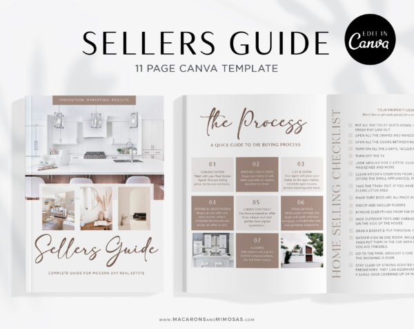 Home Sellers Guide Template, Real Estate Presentation Marketing Listing for Canva, 11 Page Home Selling Packet Moving and Listing Checklist Guide