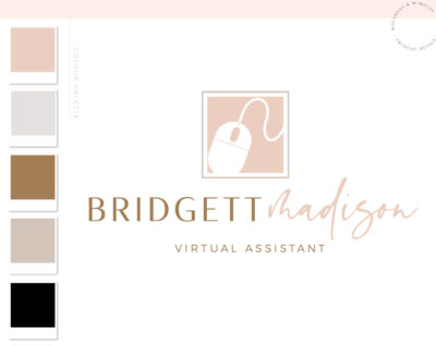 Virtual Assistant Logo Design, Accounting or Bookkeeping Logo with Trackball Mouse, Tax Prep & CPA Branding Kit, Copywriter Logo Design