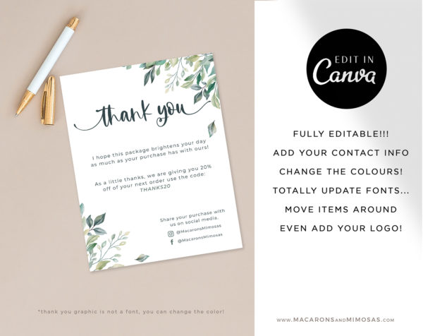 Floral Thank You Card Template for Business, Canva Editable Modern Insert Card for Packaging, Instant Download Thank You For Your Order