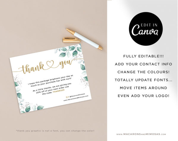 Canva Thank You Card Template for Business, Floral Thank You Card Template, Editable Modern Insert Card for Packaging
