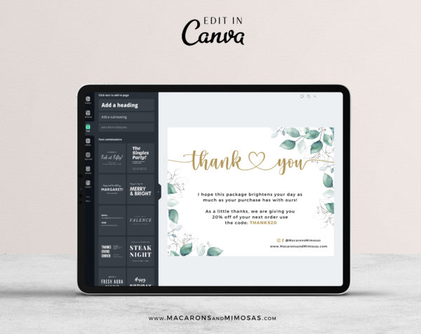 Canva Thank You Card Template for Business, Editable Modern Insert Card for Packaging, Instant Download Thank You For Your Order just Add Logo