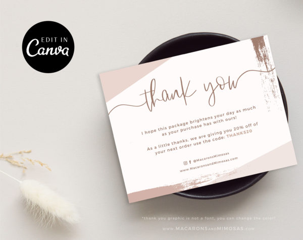 Watercolor Thank You Card Template for Business, Canva Editable Modern Insert Card for Packaging, Instant Download Thank You For Your Order