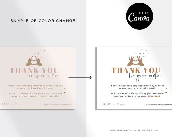 Editable Business Thank You Insert card Template, Modern Insert Card, Packaging Instant Download Thank You For Your Order just Add LOGO