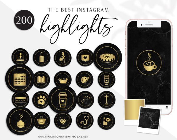 200 Instagram Highlight Icons, Black Gold Marble IG Icons, Story Highlight Icons, IG Stories Post cover, social media icons story covers