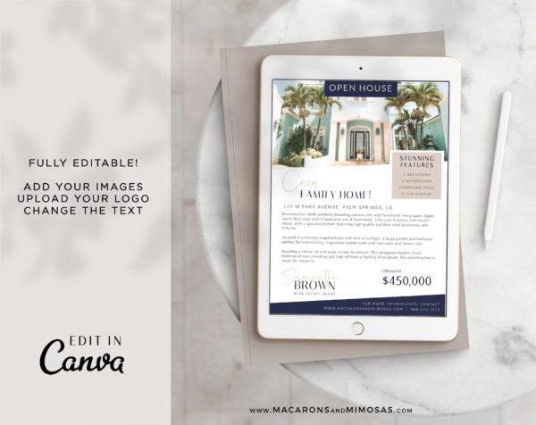 Real Estate Open House Flyer Template, Canva Marketing New House Listing Design, Just Listed Home Flyer Sheet, House for Sale Template