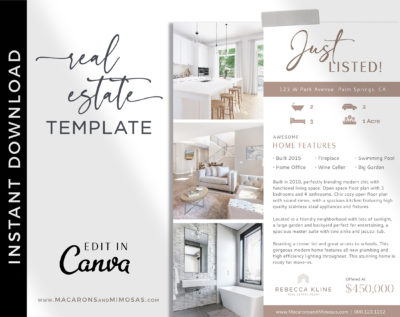 Real Estate Flyer Template, Just listed flyer, Realtor flyer, Real estate marketing, Customize Editable Canva Printable