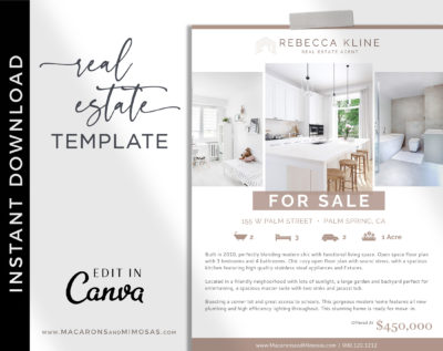 Real Estate Flyer Template, Open House Flyer for Realtor, Just listed flyer, Real estate marketing, Customize Editable Canva Printable