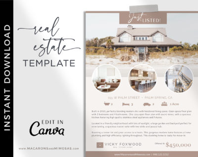Editable Just listed flyer, Real Estate Flyer, Open House Template for Realtor, Real Estate Agent Marketing Tools, Customize Canva Printable