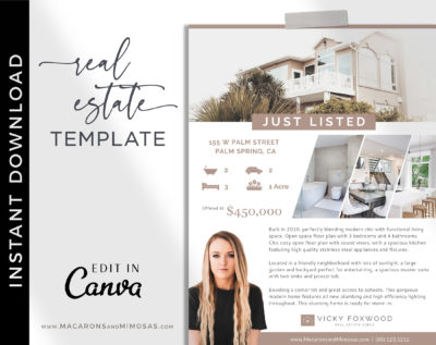 Real Estate Flyer, Open House Flyer Template for Realtor, Just listed flyer, Real estate marketing, Customize Editable Canva Printable