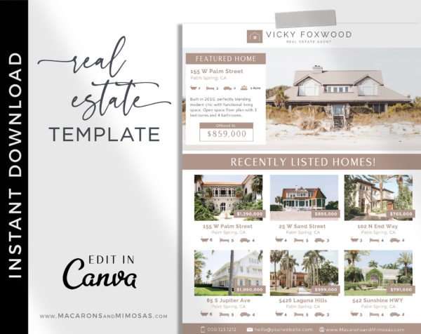 Editable Just listed flyer, Real Estate Flyer, Property Template for Realtor, Real Estate Agent Marketing Tools, Customize Canva Printable