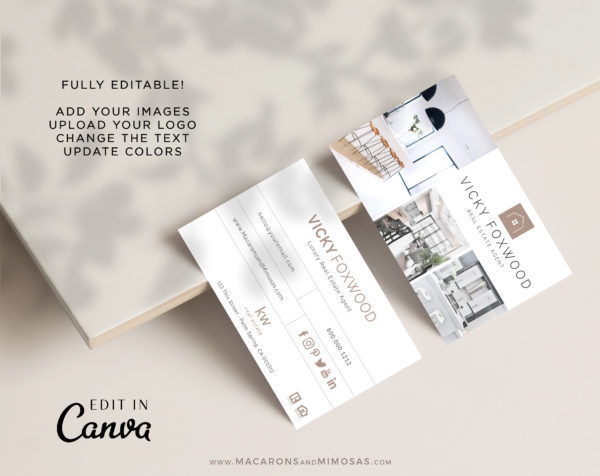 Real Estate Agent Business Card Design, Canva Template for Property and Realtor Home Sales Team, Future Home Realty Logo Business Card