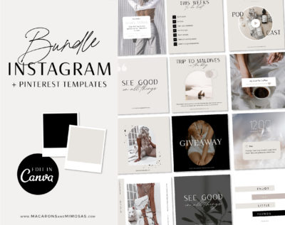 Instagram Templates Canva Fashion, Editable Instagram Post Templates Canva, Beauty Social Media Bundle Templates, Instagram Quotes Bundle