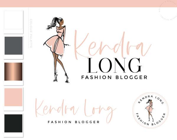 Fashion Blogger Logo, Fashion Blogger Influencer Branding Kit, Boutique Website Branding Logo Watermark, Premade Girl Fashion Logo Package