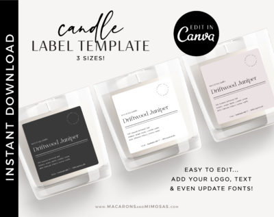 Candle Label Template, Printable Candle Labels, Personalized Candle Label Design, Minimal Candle Label, DIY Editable Candle Logo Jar Label