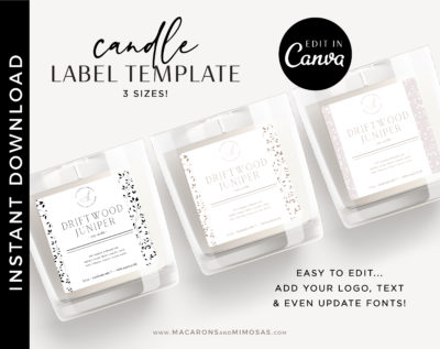Minimal Candle Label, DIY Printable Candle Labels, Personalized Candle Sticker Design, Candle Label Template, Editable Candle Logo Jar Label