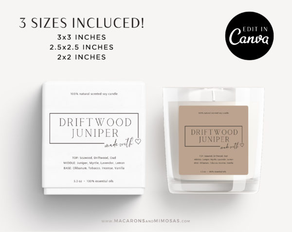 Candle Label Sticker, Printable Floral Candle Label, Personalized Candle Label Template, Minimal Candle Label, DIY Editable Candle Logo Jar