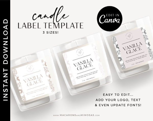 Editable Candle Label, DIY Printable Candle Labels, Personalized Candle Sticker Design, Candle Label Template, Minimal Candle Logo Jar Label