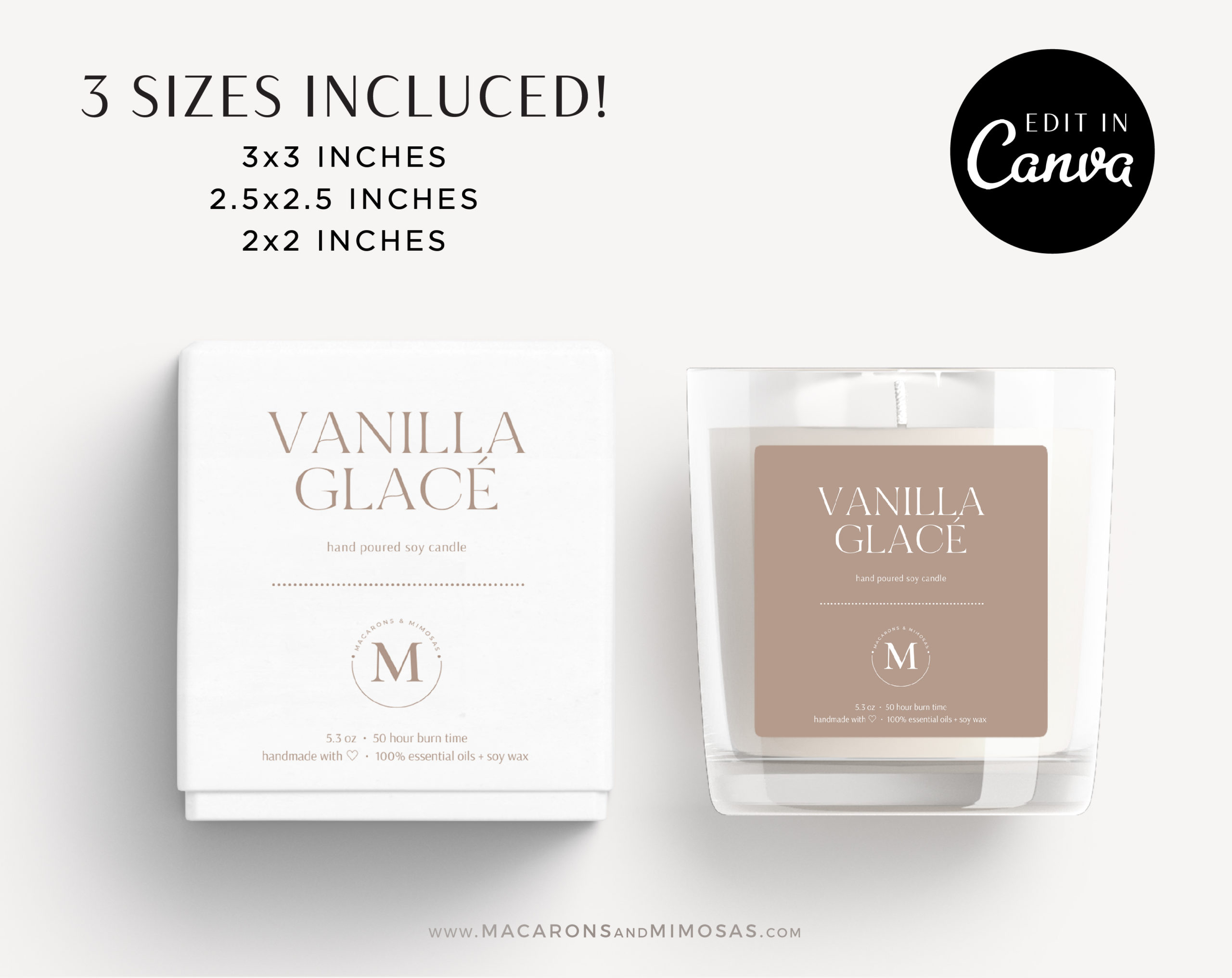 DIY Candle Label, DIY Printable Candle Labels, Personalized Candle Sticker Design, Candle Label Template, Minimal Candle Logo Jar Label
