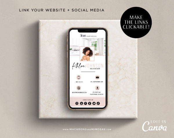 Digital Business Card Template, Modern Business Card for Realtor, Real Estate Business Card Template, Virtual Canva Business Card Template
