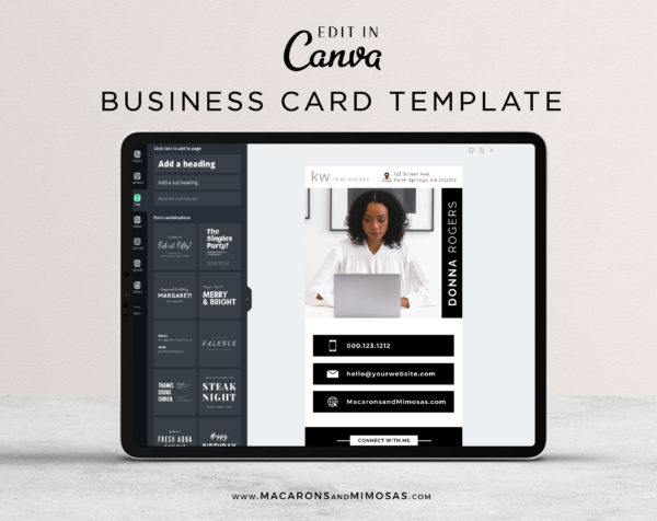 Virtual Business Cards Template, Modern Business Card for Realtor, Real Estate Business Card Template, Digital Canva Business Card Template