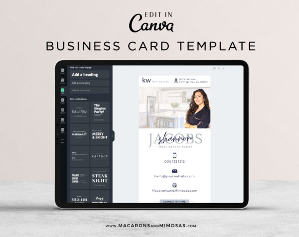 Real Estate Business Card Template, Digital Business Card Canva Template Property Agents Realtor Sales Team, Home Realty Logo Business Card