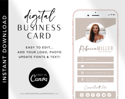 Canva Real Estate Business Card Template, Digital Business Card Canva Template Property Agents Realtor Sales Team, Home Realty Business Card